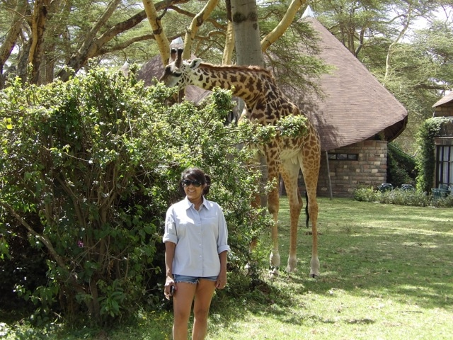 Client enjoying some time with the residents of the Langata Giraffe Center