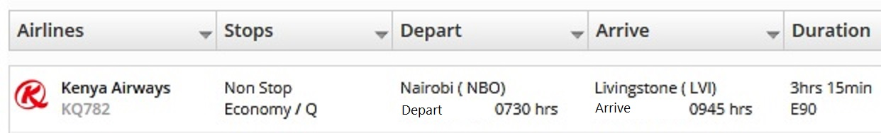 Nairobi - Livingstone flight included