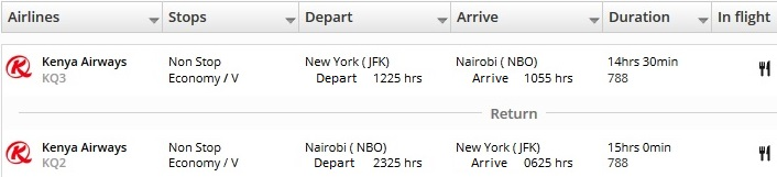 Kenya Airways Nonstop from JFK